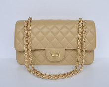 hot selling new style beige high quality shoulder bag with silver and golden shoulder strap chain