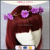 Free Sample Artificial Rattan Hair Wreath with Purple Flowers