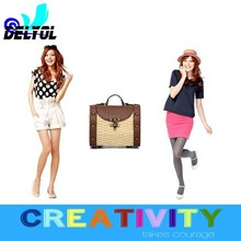 2015 new coming fashion design vintage color summer beach bag/natural straw bag pu handle hottest design cheap price