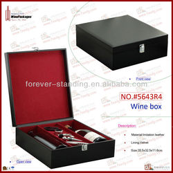 High Range Black Leather Wine Packaging Box,Printing Wine Box