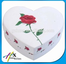 Popular Heart Shape Paper Boxes White Cardboard Chocolate Box with Glitter Rose