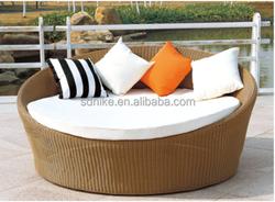 SB-(269) PE rattan outdoor furniture poolside bed/ round poolside sunbed