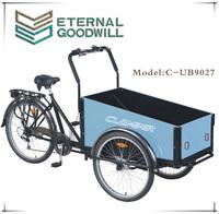 High quality pedal cargo bike with three wheels 24 inch cargo tricycle/bike 9027
