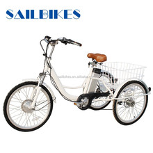 three wheels bikes tricycle with basket for grocery shopping