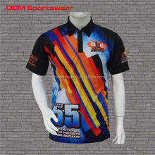 100% polyester fast dry sublimation mens pit crew shirts