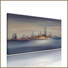 The night of the buildings of Modern abstract wall painting designs for living room