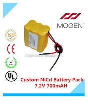 7.2V Ni-Cd Battery Pack,7.2V 700Mah Ni-Cd Battery Pack For Robotic Vacuum Cleaner 7.2v aa 700mah Custom Nicd Battery Pack