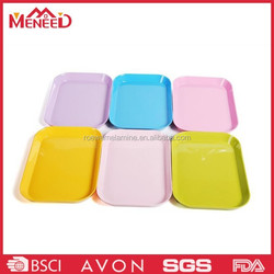 Different color oblong small size melamine plastic tray wholesale