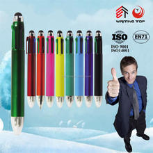 Plastic touch ball pen with 4 color refill
