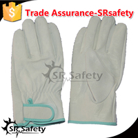 SRSAFETY cow driver leather glove safe working gloves / safety driving warm gloves,magic buckle / leather gloves,China supplier