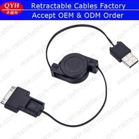 QYH Brand Custom 2in1 USB Retractable cable for cell phone charging and data transmission