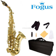 FOCUS Brand Gold Lacquered Curved Soprano Saxophone With Imported Springs& Leather Pads