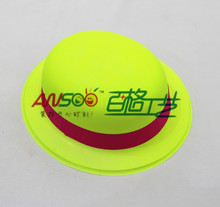 Christmas ornaments plastic neon round hat with neon band for christmas decorations
