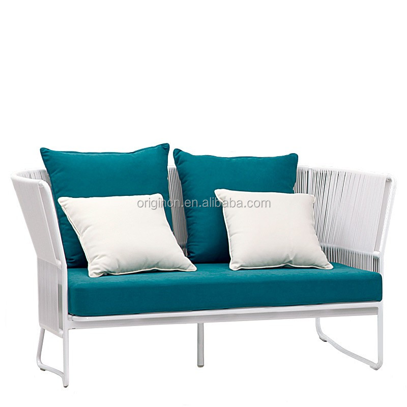Elegant Artistic Waiting Room Sofa Set Made Of White Synthetic Cane Rattan Garden  Furniture