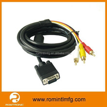 High Quality RCA Audio Cable VGA to Red White Yellow Cable VGA to RCA Cable