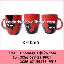 Hot Sale European Styel Cat Designed Red Ceramic Party Coffee Mug Wholesale