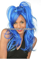 Bright blue party wig body wave crazy style synthetic material