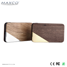 MAXCO USB travel wood power bank 8000 mah mobile phone portable charger
