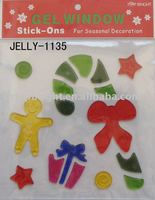 jelly window cling sticker for Christmas Decoration, size 20*20*0.3cm