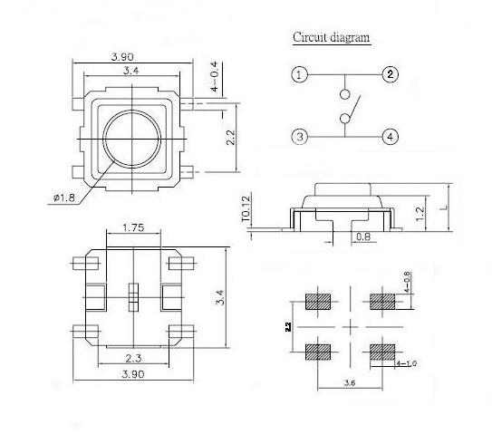 3 x 3 x 1 5 smd smt push button 4 pin tact switch buy push button 4 pin relay wiring diagram ts 3315d jpg