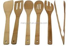 Bamboo Utensils, 6 Piece Kitchen Serving Set With Holder
