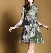 15PKSD01 2015 spring summer lady's fashionable chiffon silk dress