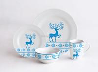 16pcs Dinner Set with Deer Decal Printing, Christmas Ceramic Dinnerware, Round Shape Tableware for Christmas