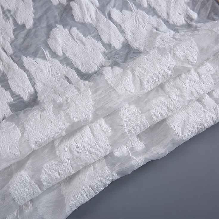 New design white nylon 레이온 자카드 scissor 웨딩 구겨 싼 3d organza fabric