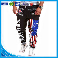 OEM bulking buy closed bottom polyester/cotton yarn custom mens ruffle hippie pants