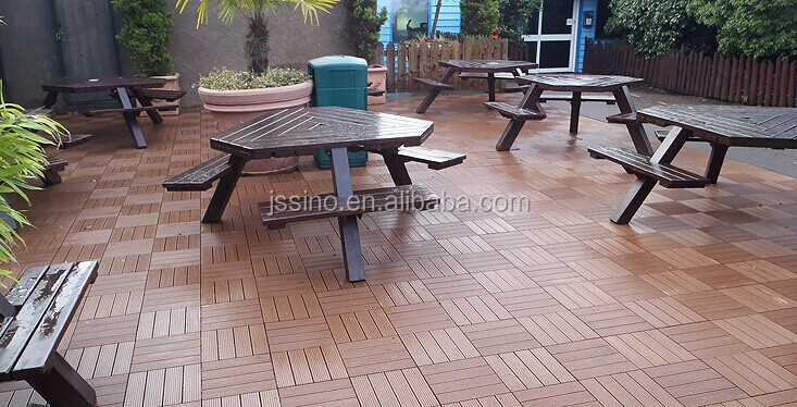 Non slip wood composite decking tiles 30x30cm deck tiles for Garden decking non slip