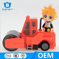 Fashional 3 inch length plastic car toy with figurine for kid, custom made mini friction plastic car toy
