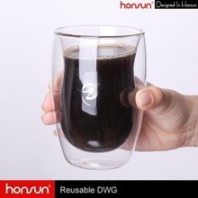 Eco-friendly products for family health borosilicate hand made double wall glass cup
