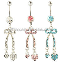 FANCY BOW TIE CZ CLUSTER BELLY NAVEL RING DANGLE BUTTON PIERCING JEWELRY C2417