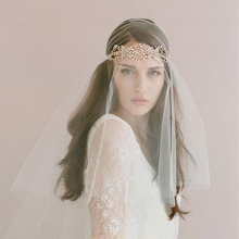 Hot sale hair flower decorative fibie tulle polka dot wedding dress accessories long bridcage lace trimming bridal veil