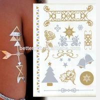 2015 New Temporary Tattoo Sticker Manual Pen For Tattoo Gold Foil Metallic Tattoo
