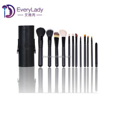 12pcs High quality makeup brush tools with leather cup holder
