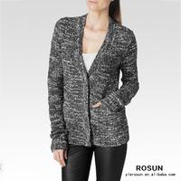 Ladies Black White Marl cotton acrylic knit cardigan coat