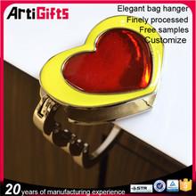 Cheap 3d metal heart shape folding bag purse hook