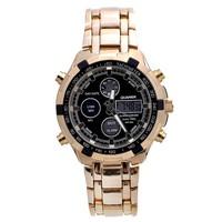 Dual Time Quartz Analog Digital Watch LED Watches Full Steel Men Dive Sports Watch