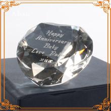 Logo engraved heart shape crystal diamond for golden wedding souvenir