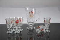 drinkware set colored glass water glass jug set