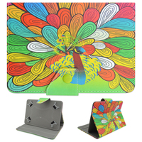 For iPad 2 3 4 5 6 Mini Air Fashion Colored Drawing Peacock Pattern PU Leather Flip Wallet Case