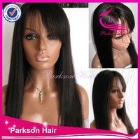 Fast delivery afro wave hair with bangs 6a grade quality 8-26 inch virgin chinese hair lace front wigs