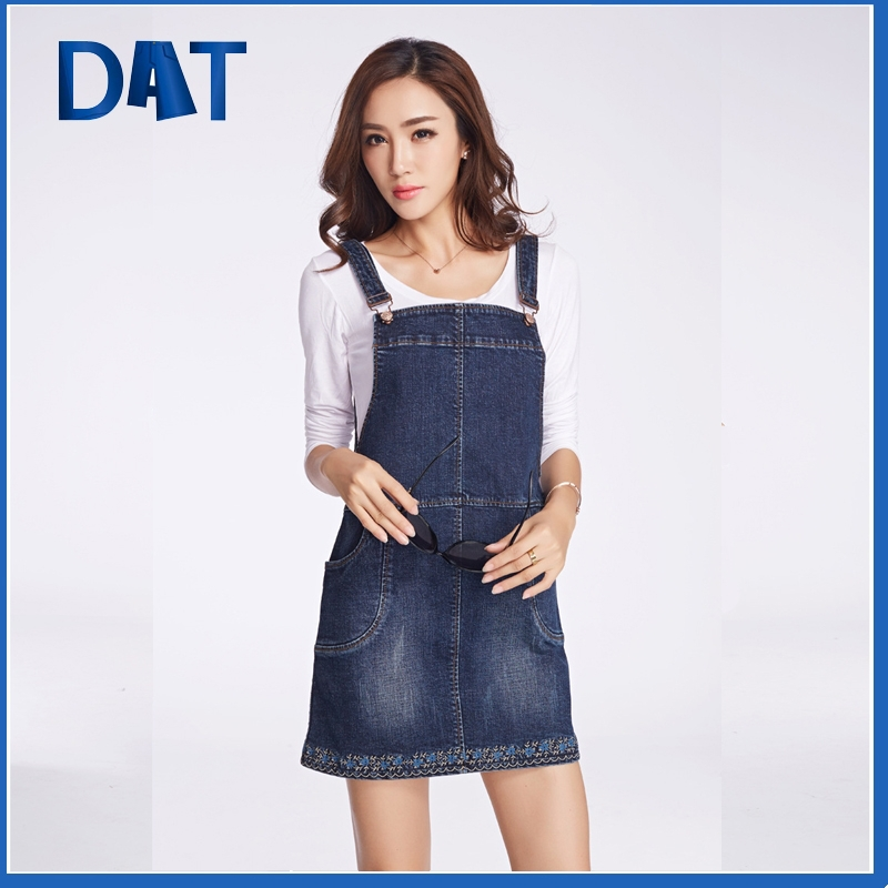 stylish slimming embroiedered denim suspender skirt