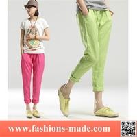 Woman Linen Slim Candy Pencil Pants
