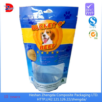 Pet laminated nylon dog food packaging plastic bag with window and zipper