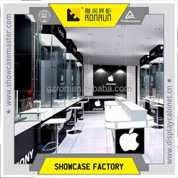 Mobile phone shop layout plan, mobile display table design, wall cabinet for mobile phone shop