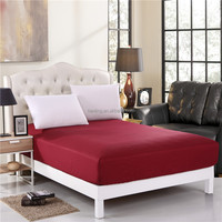 100% Polyester Red Bedspread Fitted Sheet