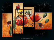 with 4pcs panel modern handmade home decor art painting
