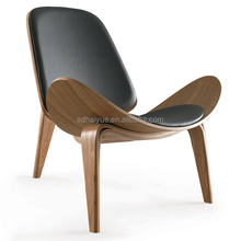 "Living Room Furniture Hans Wegner Shell Chair - Walnut & Black Leather Pads "" High Quality """